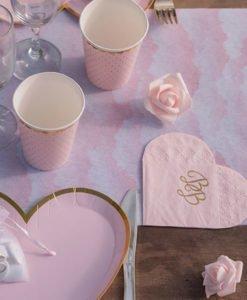 Serviettes Roses Coeur et Or
