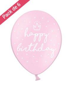 6 Ballons Roses Happy Birthday