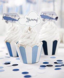 Habillage Cupcake Bleu Rayures Blanches