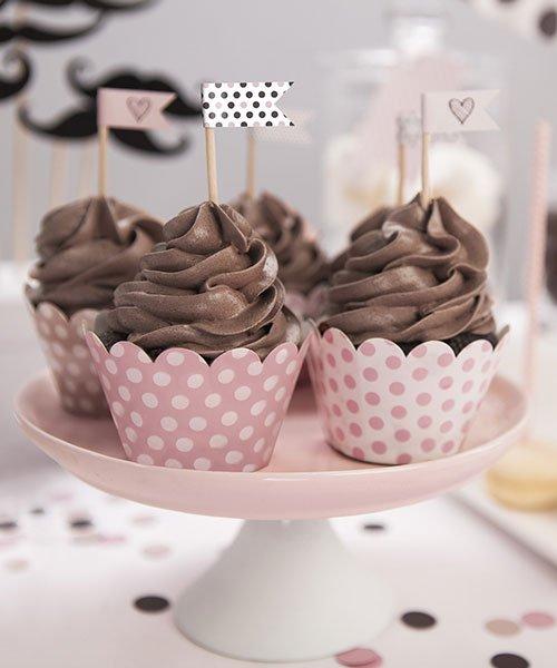 Habillage Cupcake Rose à Pois