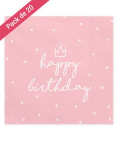 Serviettes Roses Happy Birthday