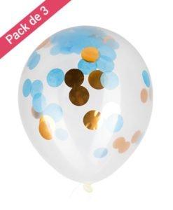 Ballon Confettis Or et Bleu