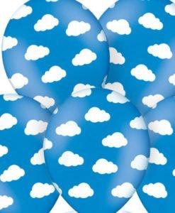 Ballons Bleus Nuages Blancs