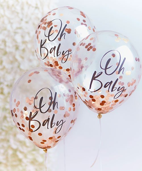 Ballons Oh Baby Confettis Rose Gold