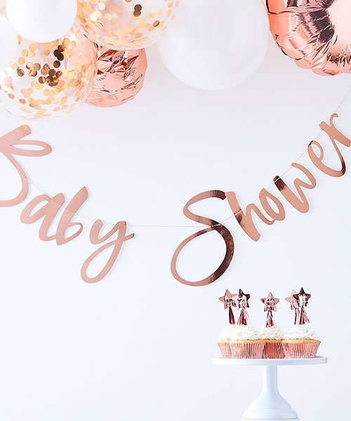 Banderole Lettre Rose Gold Baby Shower