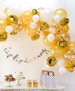 Arche Ballons Blancs et Or