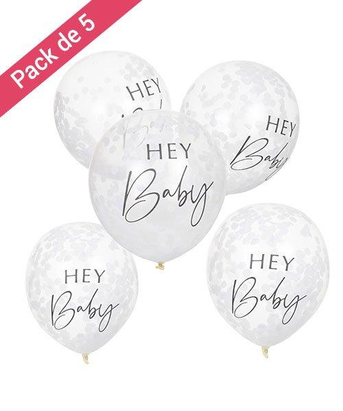 Ballons Confettis Blancs Hey Baby