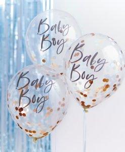 Ballons Confettis Rose Gold et Bleu