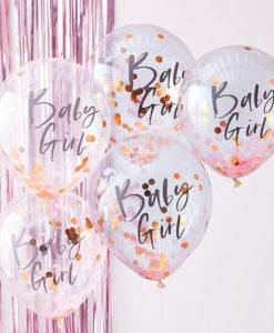 Ballons Confettis Rose Gold et Rose